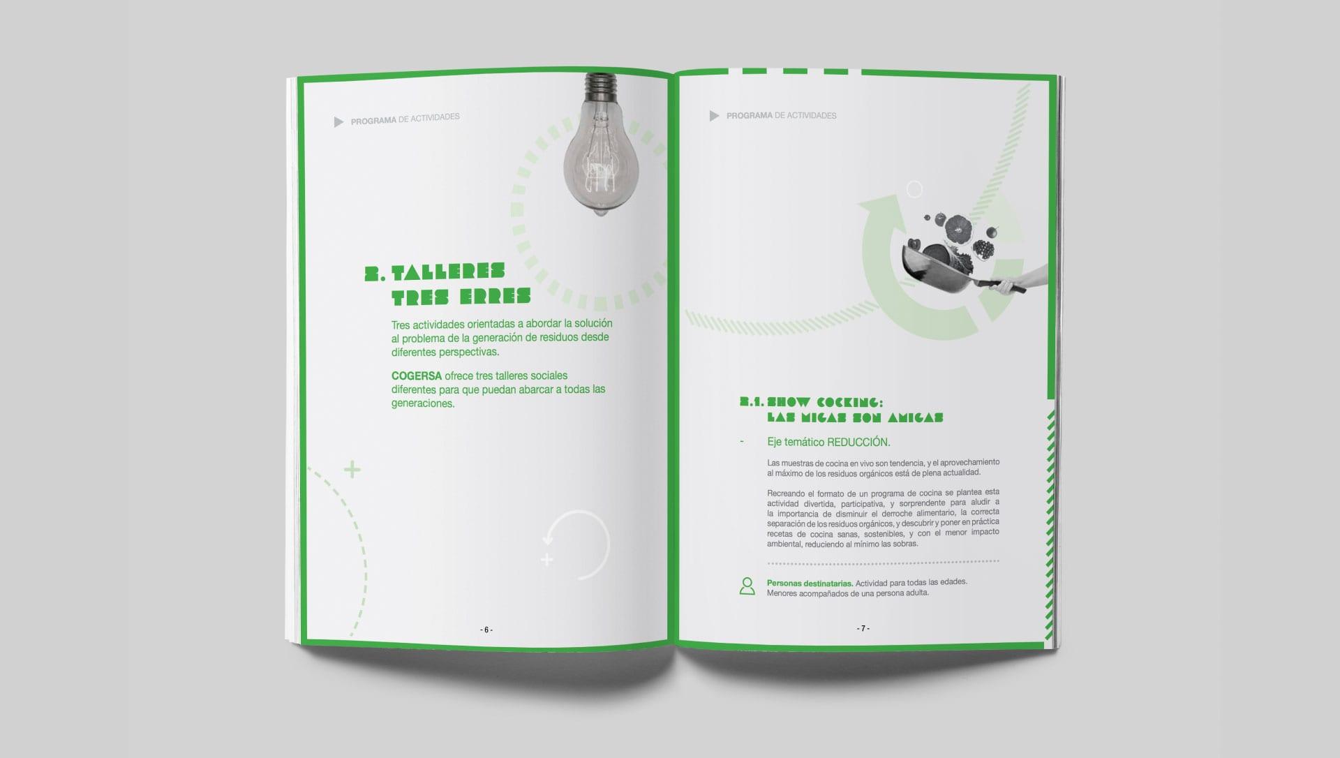 Diseño editorial de programa actividades de Cogersa dirigido a los ayuntamientos de Asturias.
