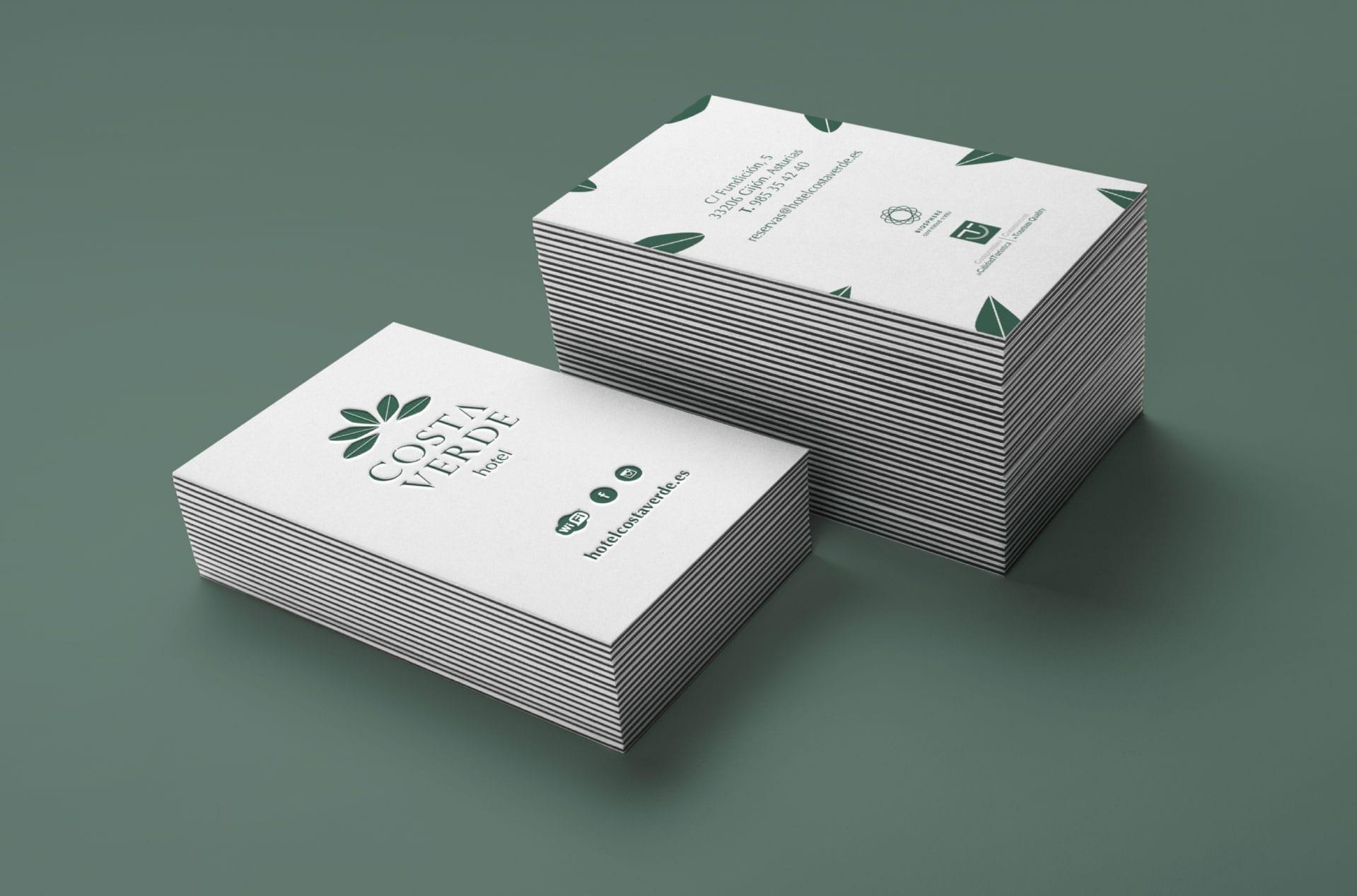 Diseño de papelería corporativa para el Hotel Costa Verde de Gijón.