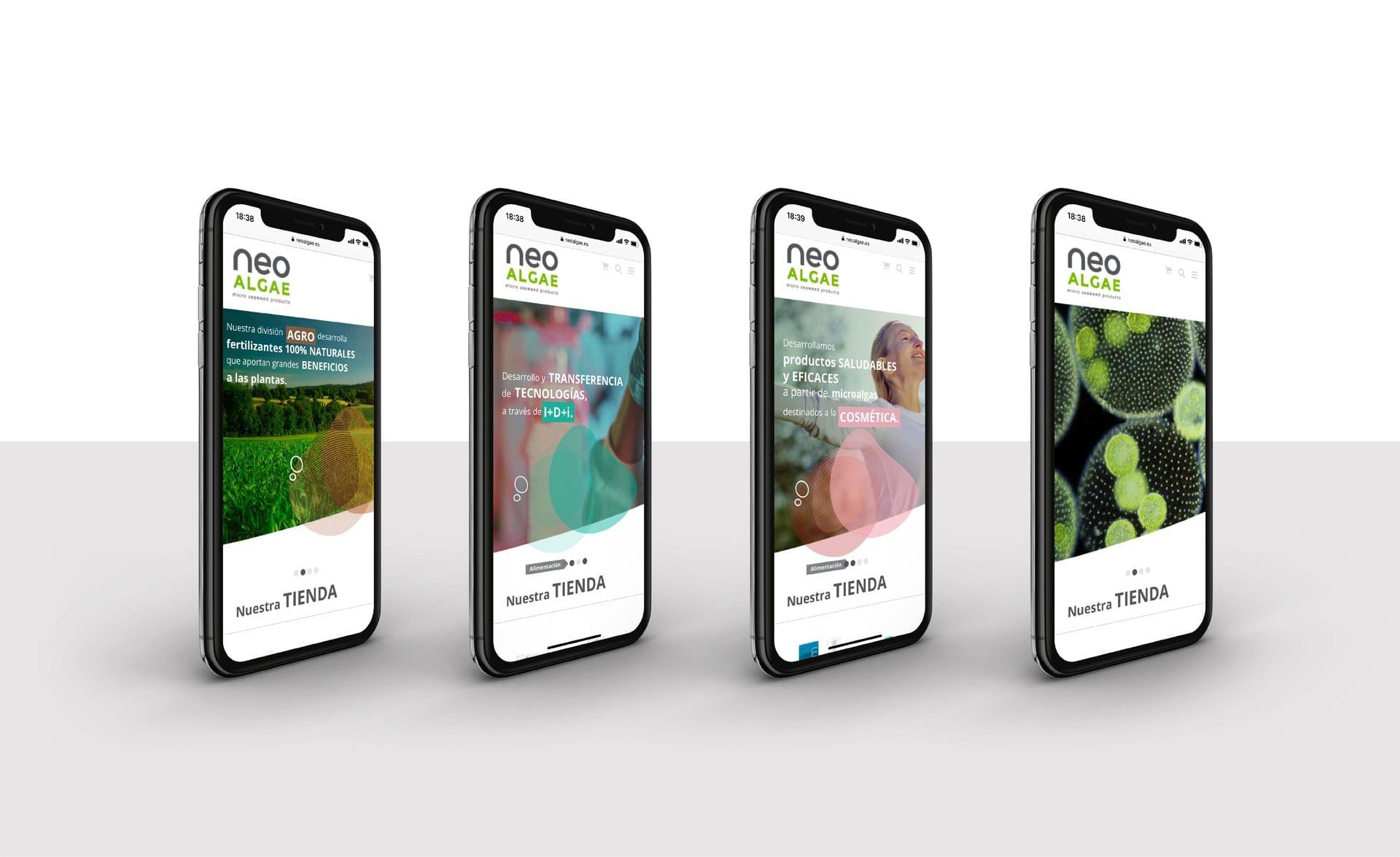Tienda online de Neoalgae en formato responsive para movil