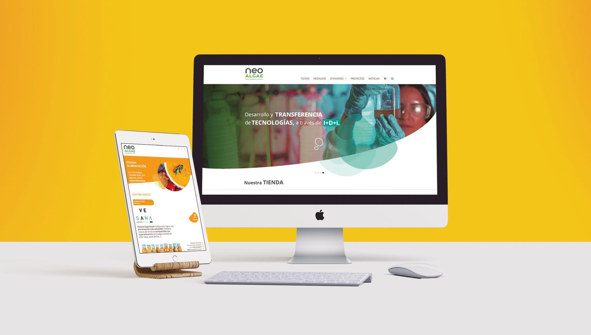 Captura del diseño de tienda online para Neoalgae