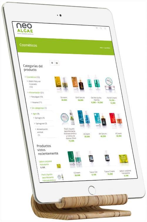 Tienda online Neoalgae, diseño responsive
