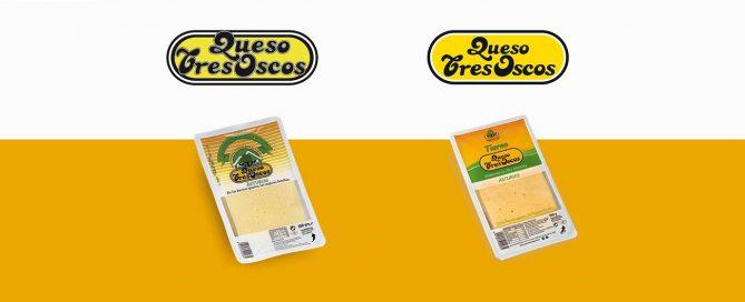 Restyling de marca y etiquetado de packaging de queso Tres Oscos de Industrias Lácteas Monteverde.