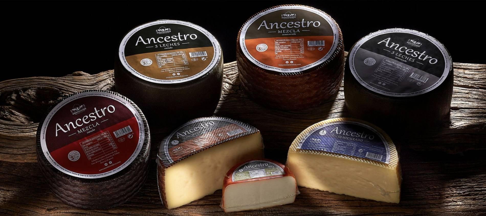 Bodegón de quesos Ancestro con el etiquetado del nuevo restyling de marca.